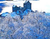 Eilean Donan Castle in Winter, Built 1230, Restored 1912, On Lochs Alsh, Long and Duich, Scotland