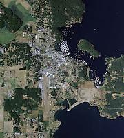 aerial map view above Friday Harbor San Juan islands Washington