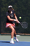 24 April 2016: Miami's Stephanie Wagner (GER). The University of North Carolina Tar Heels played the University of Miami Hurricanes at the Cary Tennis Center in Cary, North Carolina in the Atlantic Coast Conference Women's Tennis Tournament Championship. North Carolina won the match 4-2.