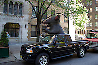 inflatable rat on the street in New York City