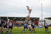 Francois Louw of Bath Rugby wins the ball at a lineout. Aviva Premiership match, between Sale Sharks and Bath Rugby on May 6, 2017 at the AJ Bell Stadium in Manchester, England. Photo by: Patrick Khachfe / Onside Images