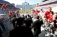 The Ohio State Buckeyes walk on to the field before the Ohio State football season opener against Buffalo at Ohio Stadium in Columbus, Saturday afternoon, August 31, 2013. (Columbus Dispatch  / Eamon Queeney)