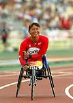 Chantal Petitclerc as she win in today 100 m , new world record 16,33.<br /> (Benoit Pelosse photographe)