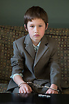My older son prepares to be Harry Houdini for a third grade school wax museum.