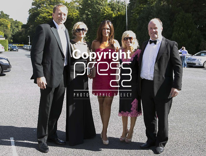 Mick O Driscoll & Frankie Sheehan pict with their wifes & a friend Arriving at the wedding of Ex Munster & Ireland Rugby Player Denis Leamy &  Grainne  Brosnan in Rockwell College Church Co.Tipperary Picture Credit: Brian Gavin Press 22