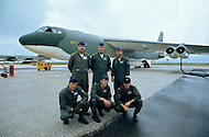 June 1972, Guam --- The Andersen Air Force Base on Guam Island from where the B-52 Stratofortress planes take off for Vietnam. A 6 member crew and their B-52 bomber before take off. --- Image by © JP Laffont/Sygma/Corbis