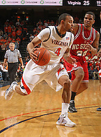 Virginia's Calvin Baker_Virginia held North Carolina State scoreless for more than 7 minutes on the way to a 59-47 victory Wednesday night at the John Paul Jones Arena in Charlottesville, VA. Virginia (14-6, 5-2 Atlantic Coast Conference) regained a share of first place in the conference. (Photo/Andrew Shurtleff)....
