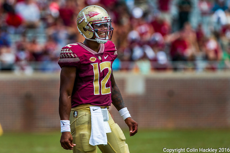 TALLAHASSEE, FLA 9/10/16-Florida State's Deondre Francois laughs during a lull in third quarter action against Charleston Southern, Saturday at Doak Campbell Stadium in Tallahassee. <br /> COLIN HACKLEY PHOTO