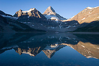 The Highline trail, Alberta and British Columbia, Canada, August 2008. Lake Magog mirrors Assiniboine Mountain in the ealy morning light. The Banff Highline trail can be hiked in 7 days and runs through Banff National park as well as Assiniboine Provincial park. Photo by Frits Meyst/Adventure4ever.com