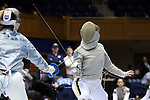 DURHAM, NC - FEBRUARY 25: Notre Dame's Francesca Russo (right) and Duke's Lindsay Sapienza (left) during the Women's Saber championship match. The Atlantic Coast Conference Fencing Championships were held on February, 25, 2017, at Cameron Indoor Stadium in Durham, NC.