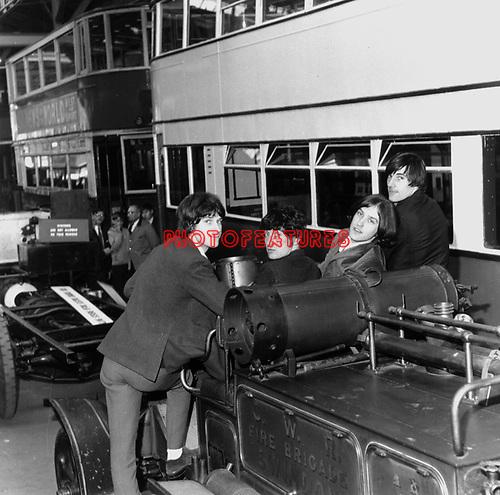 Kinks 1965 Ray Davies,Pete Quaife, Dave Davies and Mick Avory at the  London Transport Museum..© Chris Walter..