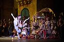 London, UK. 12.01.2016. English National Ballet present Le Corsaire, at the London Coliseum. Picture shows: Jinhao Zhang (Lankendem), Isabelle Brouwers (Odalisque), Michael Coleman (Pasha). Photograph © Jane Hobson.
