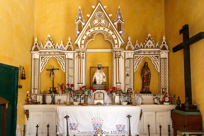 Colonual era chapel with statue of San Geronimo de Yaxcopoil, Hacienda Yaxcopoil, Yucatan, Mexico.
