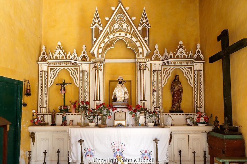 Colonual era chapel with statue of San Geronimo de Yaxcopoil, Hacienda Yaxcopoil, Yucatan, Mexico.
