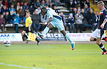 Dundee v St Johnstone....29.09.12      SPL.Gregory Tade crashes a shot off the upright.Picture by Graeme Hart..Copyright Perthshire Picture Agency.Tel: 01738 623350  Mobile: 07990 594431