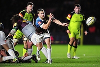 Charlie Mulchrone of Harlequinspasses the ball. Aviva Premiership match, between Harlequins and Leicester Tigers on February 24, 2017 at the Twickenham Stoop in London, England. Photo by: Patrick Khachfe / JMP