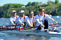 Hamilton, NEW ZEALAND.USA M4X . Bow William MILLER, Wesley PIERMARINI, Elliot HOVEY and Scatt GAULT, at the start of the Men's Quadruple Sculls, 2010 World Rowing Championship on Lake Karapiro Monday 01.11.2010. [Mandatory Credit Peter Spurrier:Intersport Images].