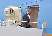 United States President Barack Obama boards Air Force One at Joint Base Andrews, Maryland to fly to Jerusalem to head the US delegation at the funeral of former President Shimon Peres of Israel on Thursday, September 29, 2016.<br /> Credit: Ron Sachs / Pool via CNP /MediaPunch
