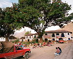 Peru, South America, southern hemisphere, Peruvian, Andahuaylillas, small town, locals, townspeople, Andean, Andes, church, indigenous, horizontal, tourism, Cuzco, mountain, mountainous, hill town, small town, remote, destination, travel, tourism, market, trees, square