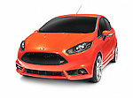 Orange red 2012 Ford Focus ST hatchback compact car isolated on white background with clipping path