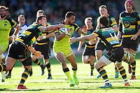 Telusa Veainu of Leicester Tigers takes on the Northampton Saints defence. Aviva Premiership match, between Northampton Saints and Leicester Tigers on March 25, 2017 at Franklin's Gardens in Northampton, England. Photo by: Patrick Khachfe / JMP