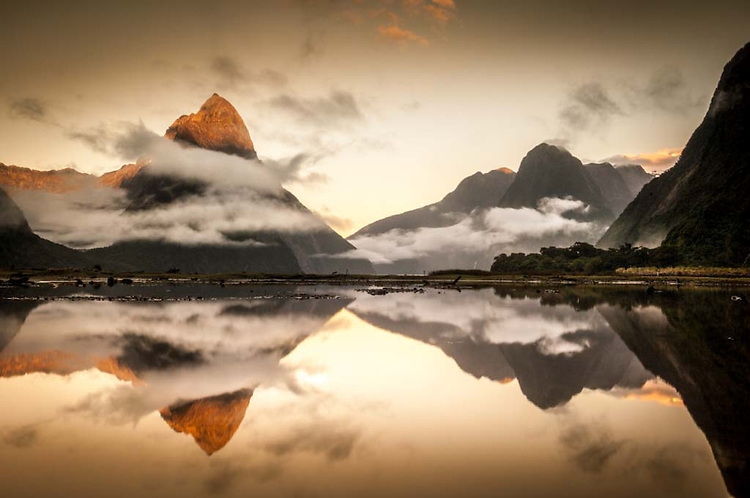 Milford Sound Mirror Reflection, Fiordland National Park, New Zealand - stock photo, canvas, fine art print