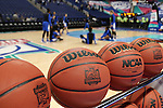 04 March 2016: Duke players stretch before the game. The Duke University Blue Devils played the University of University of Notre Dame Fighting Irish at the Greensboro Coliseum in Greensboro, North Carolina in an Atlantic Coast Conference Women's Basketball Tournament Quarterfinal and a 2015-16 NCAA Division I Women's Basketball game. Notre Dame won the game 83-54.