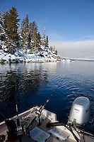 """Fishing Boat on Lake Tahoe 5"" - This fishing boat was photographed trolling for fish on the West shore of Lake Tahoe in the winter."