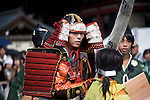 A horseback archer dressed in samurai garb takes part in the annual Reitaisai Grand Festival at Tsurugaoka Hachimangu Shrine in Kamakura, Japan on  14 Sept. 2012.  Sept 14 marks the first day of the 3-day Reitaisai festival, which starts early in the morning when shrine priests and officials perform a purification ritual in the ocean during a rite known as hamaorisai and limaxes with a display of yabusame horseback archery. Photographer: Robert Gilhooly