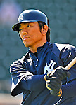 11 March 2009: New York Yankees' designated hitter Hideki Matsui prepares to take batting practice prior to a Spring Training game against the Detroit Tigers at Joker Marchant Stadium in Lakeland, Florida. The Tigers defeated the Yankees 7-4 in the Grapefruit League matchup. Mandatory Photo Credit: Ed Wolfstein Photo