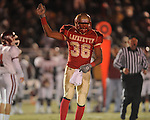 Lafayette High's Keeyon Tyson (36) celebrates a Commodore fumble recovery vs. Louisville in MHSAA 4A playoff action at William L. Buford Field in Oxford, Miss. on Friday, November 18, 2011. Lafayette won 28-6 and will advance to play Amory.