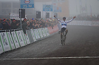 European U23 champion Quinten Hermans (BEL/U23/Telenet-Fidea) solo's to victory in the U23 race of the 2017 Belgian National CX Championships