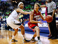 SOUTH BEND, IN - FEBRUARY 11: Skylar Diggins #4 of the Notre Dame Fighting Irish guards Jude Schimmel #22 of the Louisville Cardinals as she tries to pass off the ball at Purcel Pavilion on February 11, 2013 in South Bend, Indiana. Notre Dame defeated Louisville 93-64. (Photo by Michael Hickey/Getty Images) *** Local Caption *** Skylar Diggins; Jude Schimmel