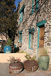 North America, USA, New Mexico, Santa Fe. Inn of Five Graces building Facade