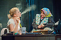 """London, UK. 17/07/2011.  """"Mongrel Island"""", by Ed Harris, and presented at the Soho Theatre, offers a fresh, cynical and offbeat perspective on how the workplace can strip away our humanity. Robyn Addison as Marie and Joanna Holden as Pippop. Photo credit should read Jane Hobson"""