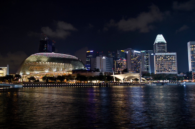 Esplanade theater along Singapore Marina Bay