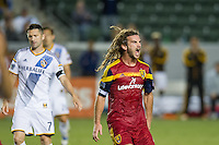 CARSON, CA - March 8, 2014: Real Salt Lake midfielder Kyle Beckerman (5) celebrates a Real Salt Lake win during the LA Galaxy vs Real Salt Lake match at the StubHub Center in Carson, California. Final score, LA Galaxy 0, Real Salt Lake  1.
