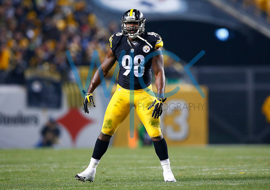 Vince Williams #98 of the Pittsburgh Steelers in action against the Indianapolis Colts during the game at Heinz Field on December 6, 2015 in Pittsburgh, Pennsylvania. (Photo by Jared Wickerham/DKPittsburghSports)