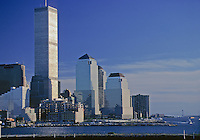 Manhattan Skyline Sunset, Hudson River Twin Towers of the World Trade Center, designed by Minoru Yamasaki, Manhattan, New York City, New York,