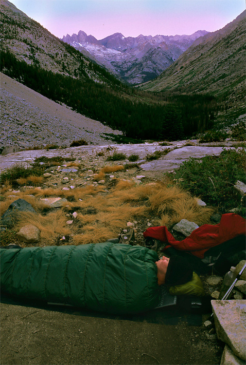 just another cozy camp on the John Muir Trail, CA. Views of Evolution valley below.