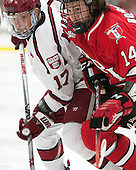 Sean Malone (Harvard - 17), Riley Bourbonnais (RPI - 14) - The Harvard University Crimson defeated the visiting Rensselaer Polytechnic Institute Engineers 5-2 in game 1 of their ECAC quarterfinal series on Friday, March 11, 2016, at Bright-Landry Hockey Center in Boston, Massachusetts.