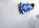 15 December 2007: Germany 2 pilot Thomas Florschuetz with brakeman Mirko Paetzold exit a turn during their first run at the FIBT World Cup Bobsled Competition at the Olympic Sports Complex on Mount Van Hoevenberg, at Lake Placid, New York, USA...Mandatory Photo Credit: Ed Wolfstein Photo