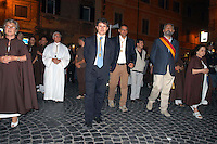 Rome  29 July 2007.Gianni Alemanno to procession of  Madonna de' Noantri at Trastevere