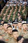 South Korean servicemen sing their country's national anthem during the official commemoration ceremony to mark the 60th anniversary  of the start of the Korean War in Seoul, South Korea on 25 June 2010..Photographer: Rob Gilhooly