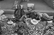 An onion stall in the Jayma bazaar in the city of Osh. The city was once one of the great cities of the Silk Road and of Central Asia, and is the second biggest city in the country, situated in the unstable Ferghana valley which is now becoming a hotbed if Islamic Fundamentalism.Osh,  Kyrgyzstan.