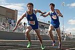 Timberline's final exchange in the 4x800 meter relay during the YMCA Track and Field Invite on April 28, 2012 at Rocky Mountain High School, Meridian, Idaho. Timberline finished third (8:56.59) behind Rocky Mountain (8:46.01) and Skyline (8:54.02).