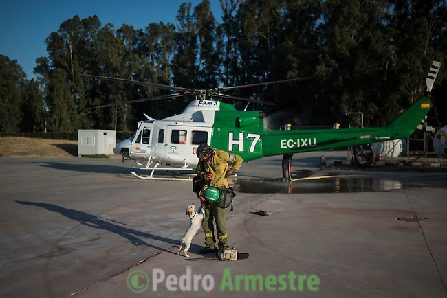 Firefighter of Brica's Malaga 703 of the service of Andalucian Infoca Plan, Francisco Perez, is received by his dog Lola at to finish work in the wildfire in El Ronquillo, near Sevilla on July 26, 2015.<br /> Since July 19 wildfires have ravaged nearly 39,000 hectares of land in Spain, according to the provisional figures from the agriculture ministry. &copy; Pedro ARMESTRE