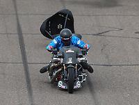 Feb 26, 2017; Chandler, AZ, USA; NHRA top fuel nitro Harley Davidson rider Jay Turner during the Arizona Nationals at Wild Horse Pass Motorsports Park. Mandatory Credit: Mark J. Rebilas-USA TODAY Sports