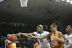 UK center DeNesha Stallworth and Tennessee forward Cierra Burdick reach for the ball during the first half of the UK Hoops vs. Tennessee at Memorial Coliseum in Lexington, Ky., on Sunday, March 3, 2013. Photo by Emily Wuetcher | Staff....