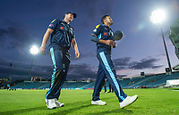 Picture by Allan McKenzie/SWpix.com - 16/05/2017 - Cricket - Royal London One-Day Cup - Yorkshire County Cricket Club v Leicestershire County Cricket Club - Headingley Cricket Ground, Leeds, England - Yorkshire's Alex Lees & Azeem  Rafiq leave the field after their victory over Leicestershire.